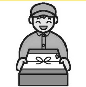 お歳暮(モノクロ)/歳末・年末風景の無料イラスト/冬/ミニカット・クリップアート素材