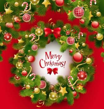 クリスマスリース/飾り枠,フレームのイラストai/eps | ベクタークラブ<イラストレーター素材が無料>
