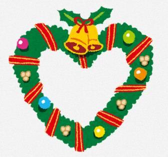 ハート型のクリスマスリースのイラスト: 無料イラスト かわいいフリー素材集