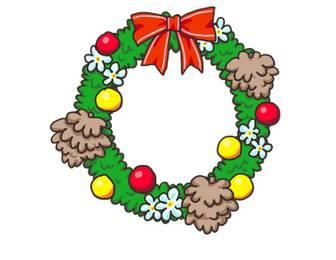 クリスマスリースの無料イラスト | かわいいイラストならイラストレイン