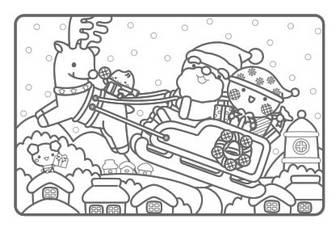 12月のぬりえは「せんべい村のクリスマス」!