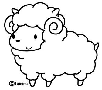 羊のイラスト(ぬりえ)