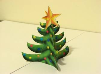Christmas Tree Free Paper Model with Star on top!