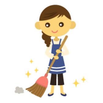 ホウキで掃除をする女性 - イラスト素材 | 商用利用可のベクターイラスト素材集「ピクト缶」