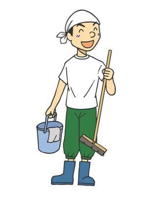 年末の大掃除に励む男性★バケツほうきぞうきん | 無料イラスト配布サイトマンガトップ