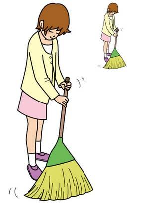 幼稚園児のイラスト・絵カード:ほうきで掃く・掃除 イラスト・絵カード