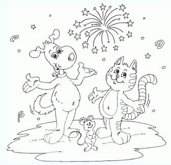 New Year's Day pictures to color