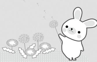 春イラスト/白黒無料ダウンロード/わんパグ