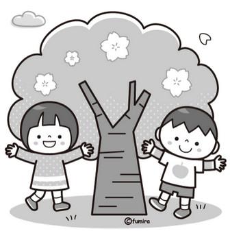 春のイラスト素材(モノクロ・ぬりえ「白黒」)子どもと動物のイラスト屋さん春