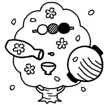 春/季節・行事/無料イラスト【白黒イラスト素材】