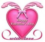 ピンクのハートにバレンタインの文字
