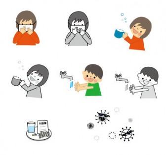 かわいい インフルエンザのイラスト白黒あり(マスク・うがい・手洗い)