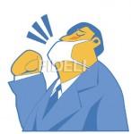 風邪をひいたビジネスマンのイラスト