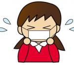 花粉症のイラスト(マスクをした女の子)
