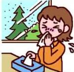 ティッシュで鼻をかむ女性イラスト
