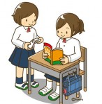 自習をする中学生の女の子のイラスト
