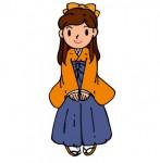 卒業式での袴姿の女子大生です