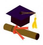 卒業証書と帽子(角帽)のイラスト