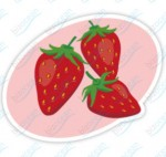 お皿にのった3つの苺イラスト