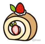 苺のロールケーキイラスト