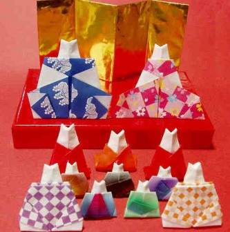 折り紙で猫の雛人形