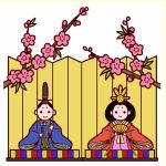 桃の花とひな壇(カラー)
