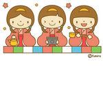 三人官女のイラスト(ソフト)