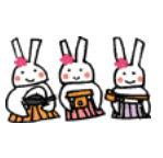 >WMF・EPS形式 ウサギの三人官女