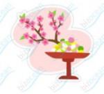 桃の花と雛あられのイラスト