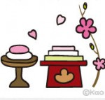 桃の花と菱餅
