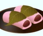 丸いお皿に桜もちイラスト
