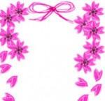 春らしい桜とガーリーなピンクのリボンの飾り枠