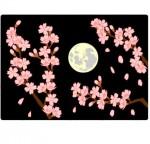 月と桜の背景