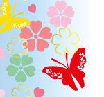 桜と蝶のカラフルな壁紙