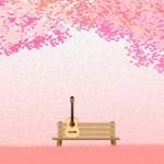 桜とギターのイラスト