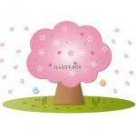 桜の花びらが散る桜の木