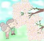 桜を見上げるおじいさんとおばあさん