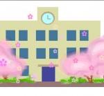 桜と学校のアニメ素材