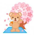 かわいいクマと桜の木