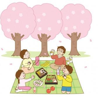 家族でお花見イラスト