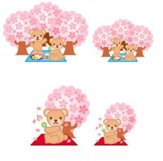 くまさんが桜の下で花見イラスト