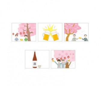 お花見(宴会)のフリーイラスト素材
