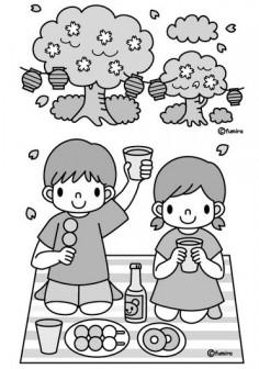 花見・桜(モノクロ)
