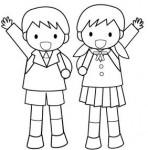 小学生の白黒イラスト入学式