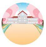 校庭に満開の桜が咲いている様子のイラスト素材