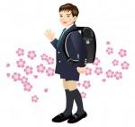 ランドセルを背負ったスーツ姿の男の子と桜のイラスト