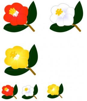 赤と白と黄色の椿(ツバキ)の花のイラスト、gif画像とjpg画像