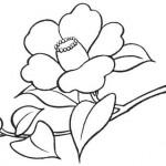 椿の白黒イラスト