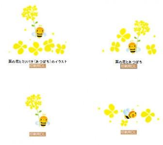 ミツバチと菜の花イラスト 印刷用あり