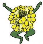 おもしろい 菜の花のキャラクターイラスト